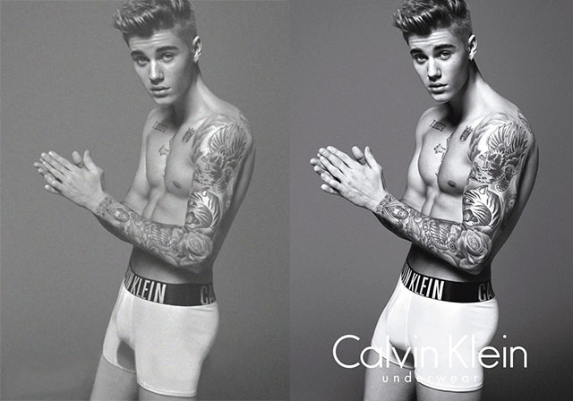 Justin Beiber before and after photoshop
