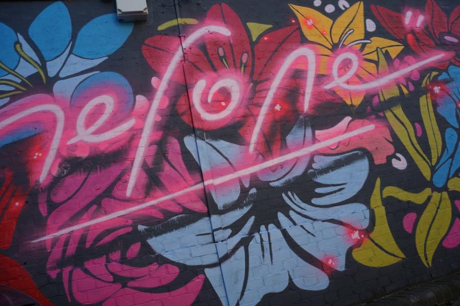 Neon Flowers Street Art - Camden