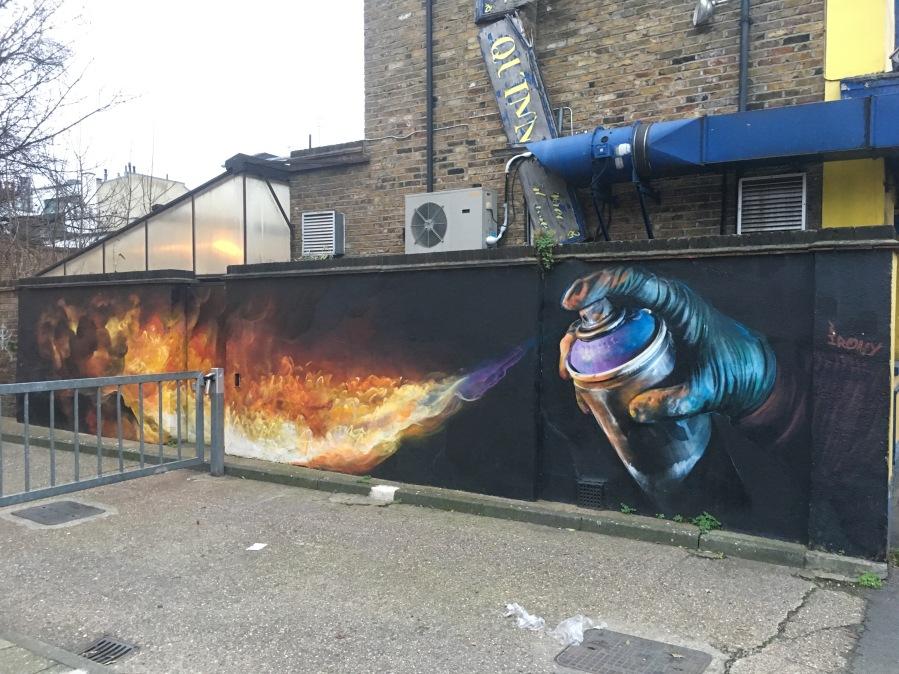 Flaming Spray Can Street Art - Camden