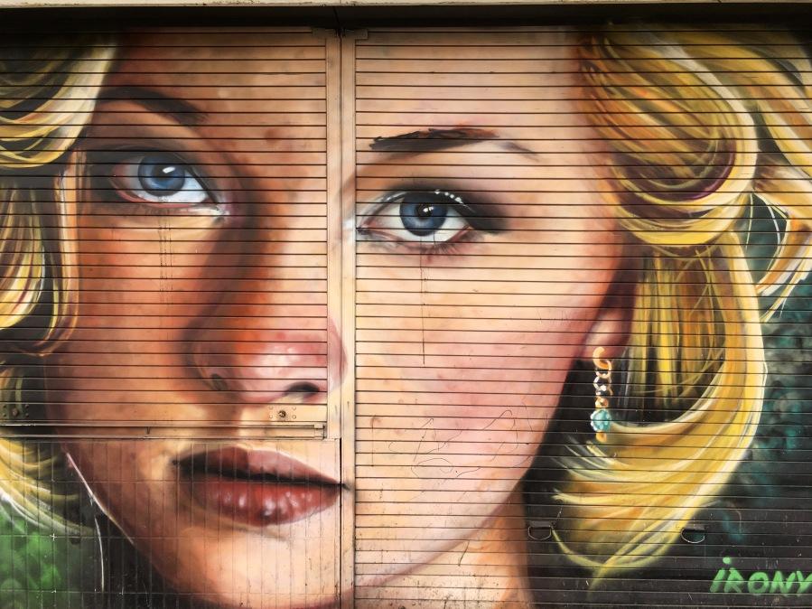 Female Portrait Street Art on Shutters - Archway