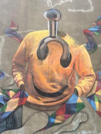 Smiley Face Top Close Up Street Art - Southwark