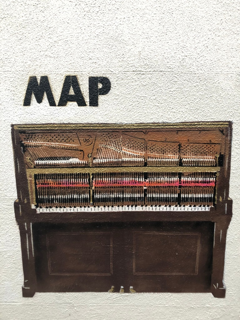 Map with Piano Street Art - Kentish Town